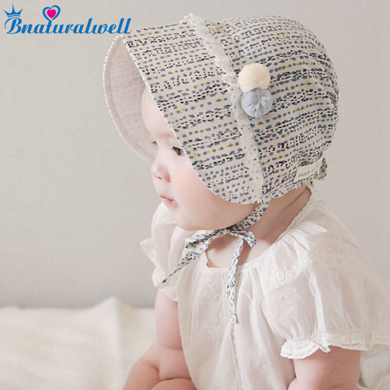 Bnaturalwell Baby Girls Bonnet Retro   Beanie   Hat Chapeau Nordic Vintage Lace Toddler Bonnet Christening Baptism Cap Cotton H834