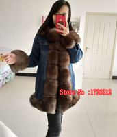 2017 new fashion coat denim shell pie clothes female real fox fur leather jacket shell star models skin