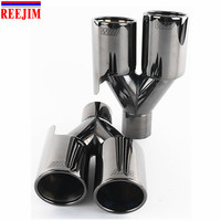 1 Piece Titanium Black 60mm inlet M logo Performance Stainless Steel Universal exhaust tip car muffler tip car stying