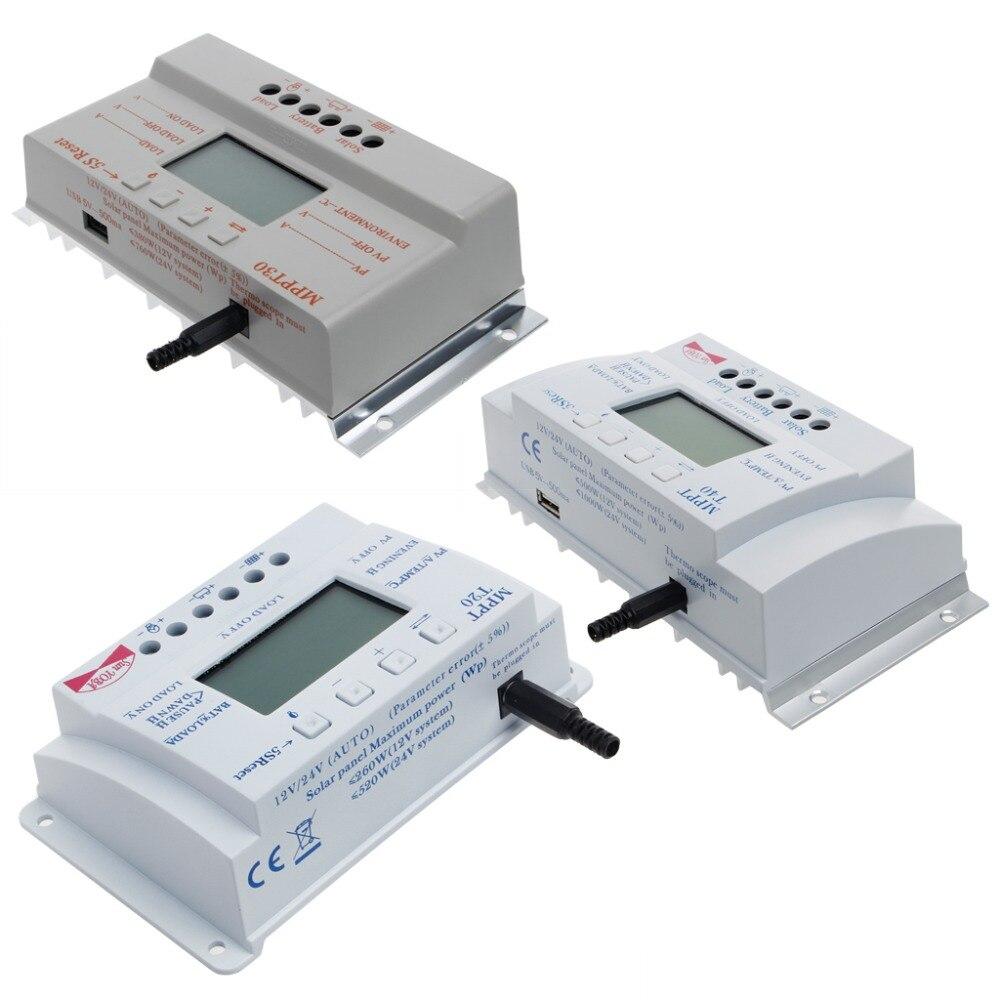 LCD 20/30/40A 12 V/24 V MPPT panneau solaire régulateur de batterie régulateur de charge T20 3 Minuterie Solaire Contrôleurs