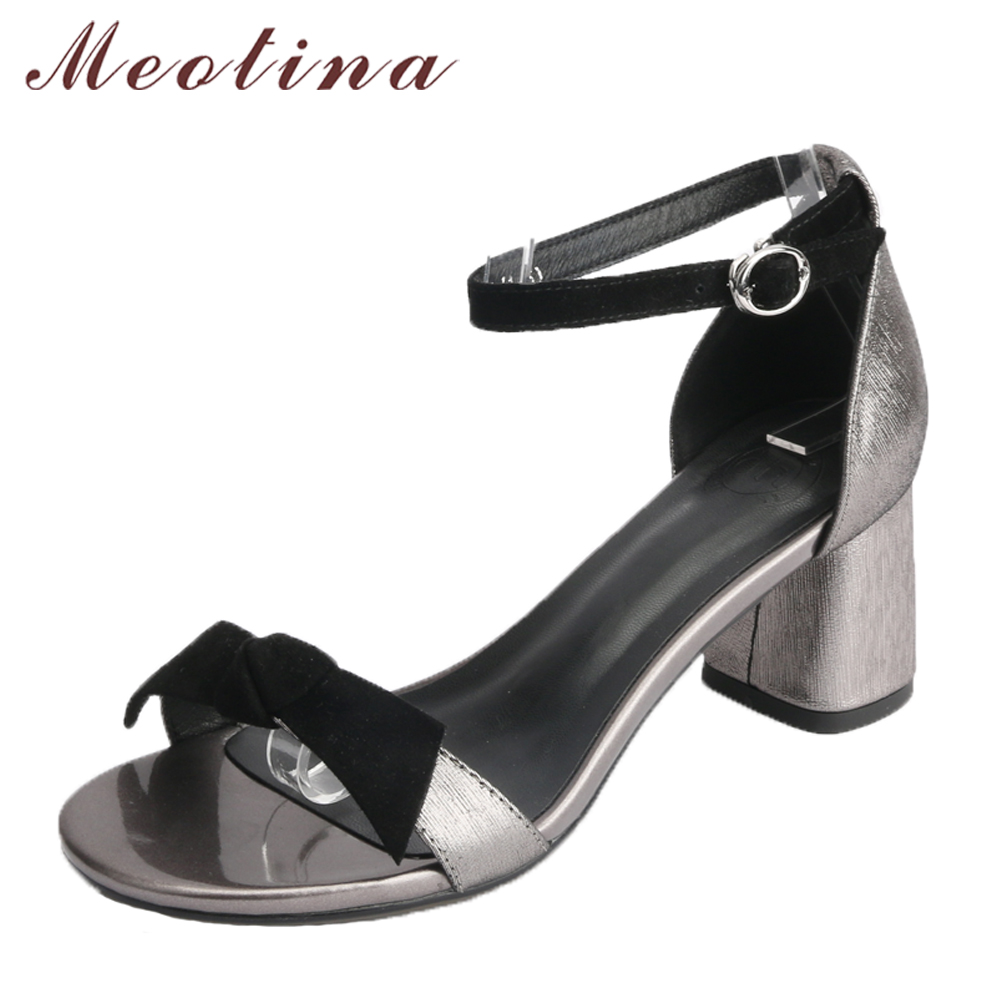 Meotina Genuine Leather Women Shoes Open Toe High Heels Summer Sandals Bow Ankle Strap Lady Party Shoes Block Heels Size 34-42 meotina genuine leather women shoes female plaid party shoes block heel bow strap high heels kid suede ladies pumps 2018 spring