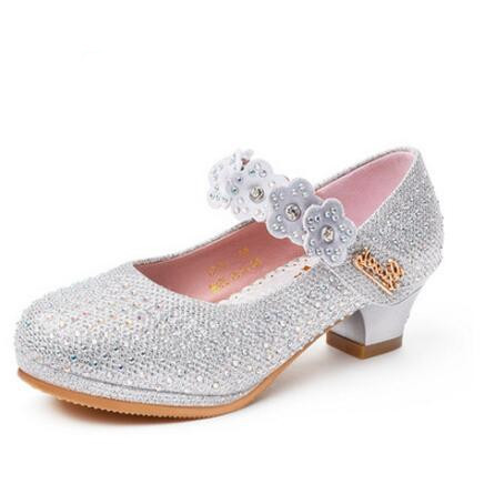 Spring/Autumn Crystal Children Leather Shoes High Heels Girls Dance Shoes Princess Baby Fashion Rhinestone Flowers Kids Shoes 03