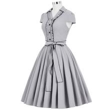 Belle Poque Women Summer Dress 2017 Amber Grey V-Neck Swing Elegant Tunic Robe Vintage Dresses 50s 60s Plus Size Clothing