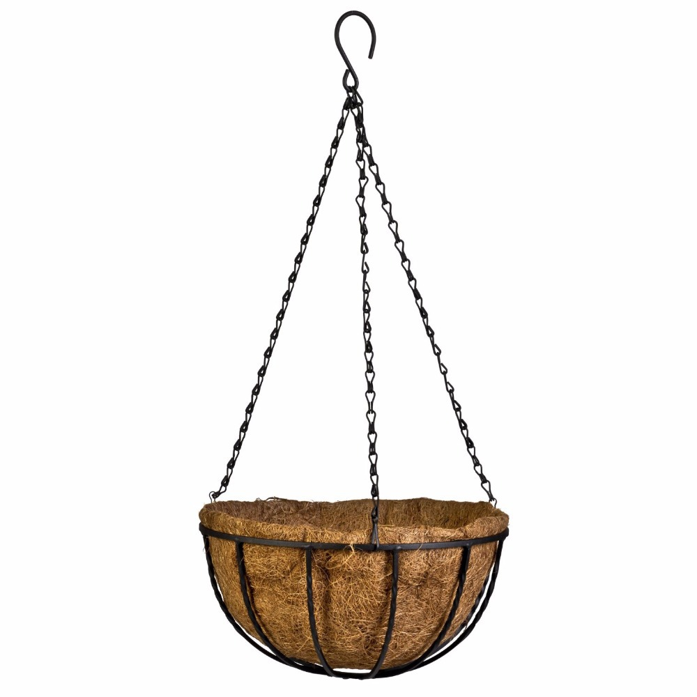 Decorative Hanging Flower Baskets : Flower hanging basket wrought coconut flowerpot rattan