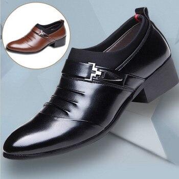9552e53b06 2019 Negro Blanco marrón de cuero de los hombres zapatos para hombre zapatos  de punta Zapatos de vestir Zapatos de alta calidad formal deslizamiento en  ...