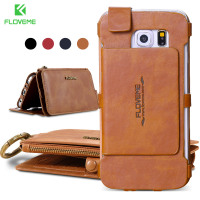 FLOVEME Retro Leather Phone Case For Samsung Galaxy NOTE 3 4 5 S7 S6 Edge Plus