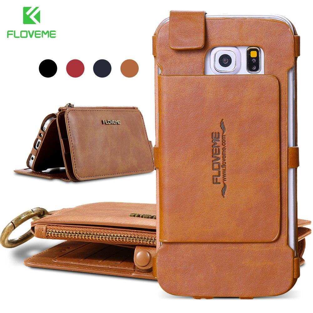 imágenes para Cajas Del Teléfono de Cuero Para Samsung Galaxy S6 S7 FLOVEME Retro borde Más NOTA 3 4 5 7 Anillo de Metal Coque Tarjeta Monedero Cubierta Protectora