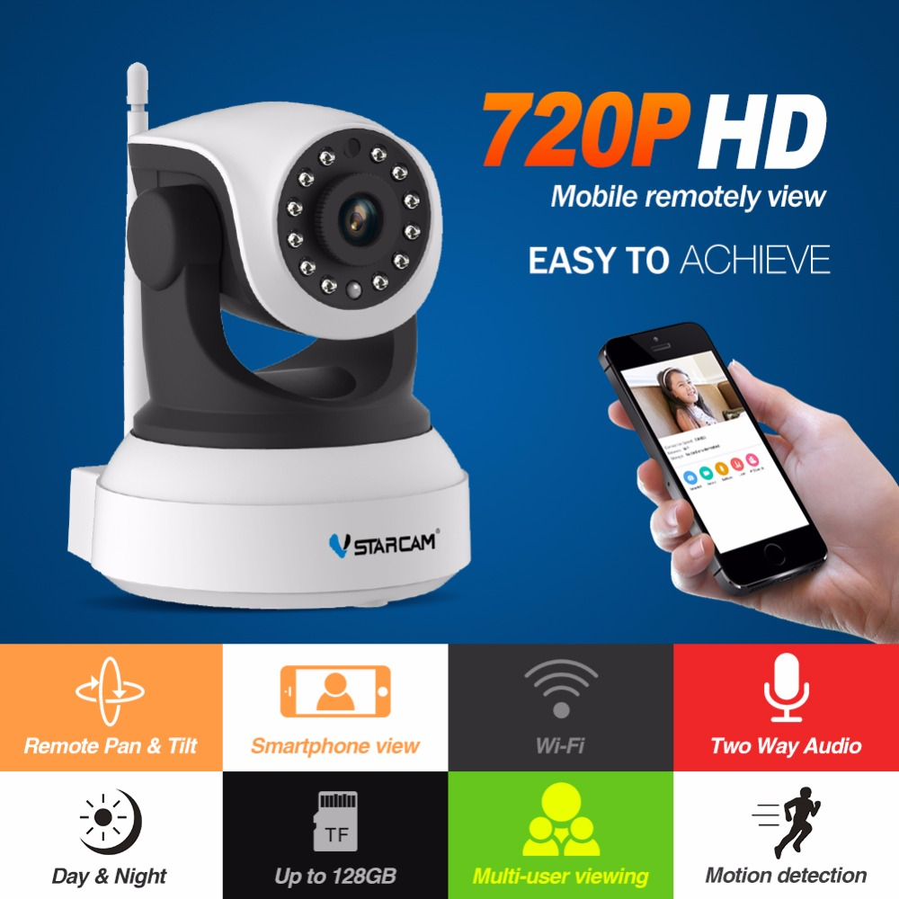 VStarcam free shipping HD Ip Camera Wireless Wifi Wi-fi Video Surveillance Night Security Camera Network Indoor C7824WIP smarsecur wire free ip camera 720p hd no wire 6400mah 8 months battery security wifi wireless ip camera with battery