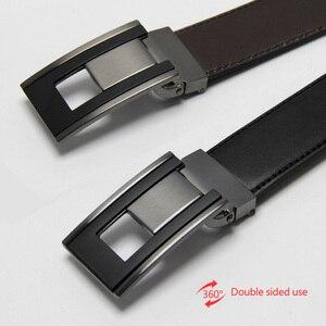 Image 4 - Luxo couro cinto masculino placa fivela reversível masculino casual alta qualidade cintos dropship fornecedores preto marrom
