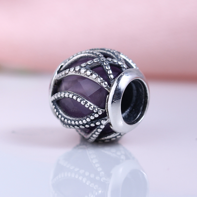 100% 925 Sterling Silver Fit Original Pandora Bracelet Intertwining Radiance Purple & Clear CZ Charm Beads for Jewelry Making