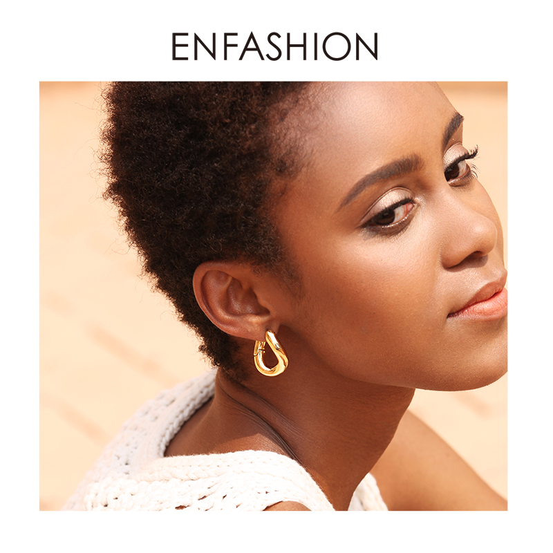 ENFASHION Punk Link Chain Hoop Earrings For Women Gold Color Small Circle Hoops Earings Fashion Jewelry Aros De Moda 2019 EC1044