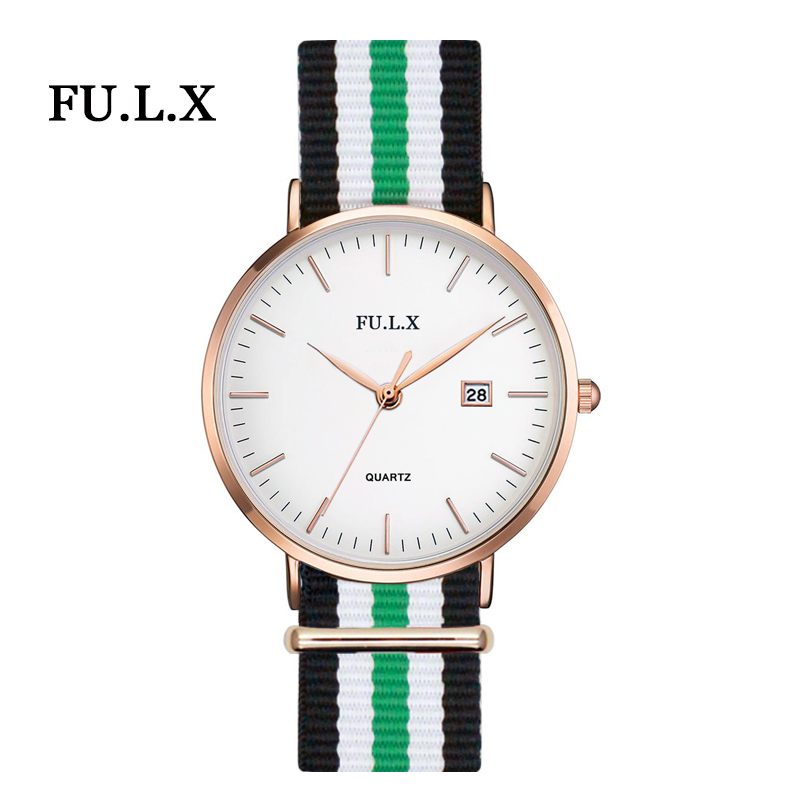 2017 FULX Brand Luxury Gold Women Watches Nylon Quartz Ladies Rose Bracelet Watch Casual Clock Lovers Girl Wristwatch Relogio megir ladies watches rose gold luxury women bracelet watch for lovers fashion girl quartz wristwatch clock relogio feminino 1079