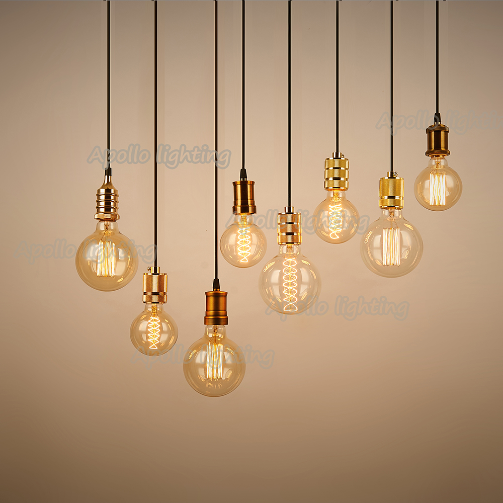 industrial lighting fixtures vintage. E27 Edison Bulbs Vintage Pendant Lights Lamp Industrial Lighting Fixtures Lustre Copper Luminaria Handing Holder+Base+1M Wire-in From Z