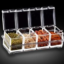 Изысканный прозрачный акриловые пластины специй банку творческая кухня ароматизатор ящик для хранения хранения