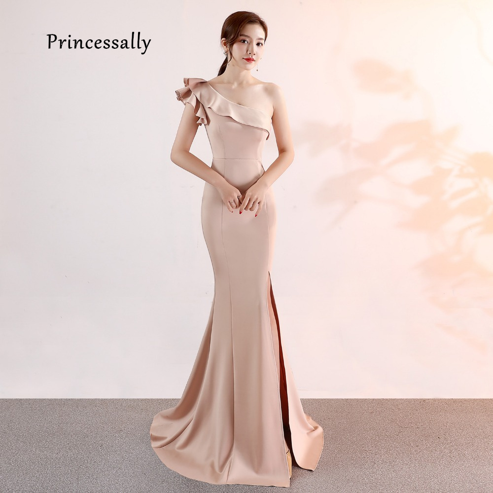 US $17.17 17% OFFNew Mermaid Satin Evening Dress Apricot One Shoulder Sexy  Side Slit Formal Prom Evening Dresses Long Kleider Damen