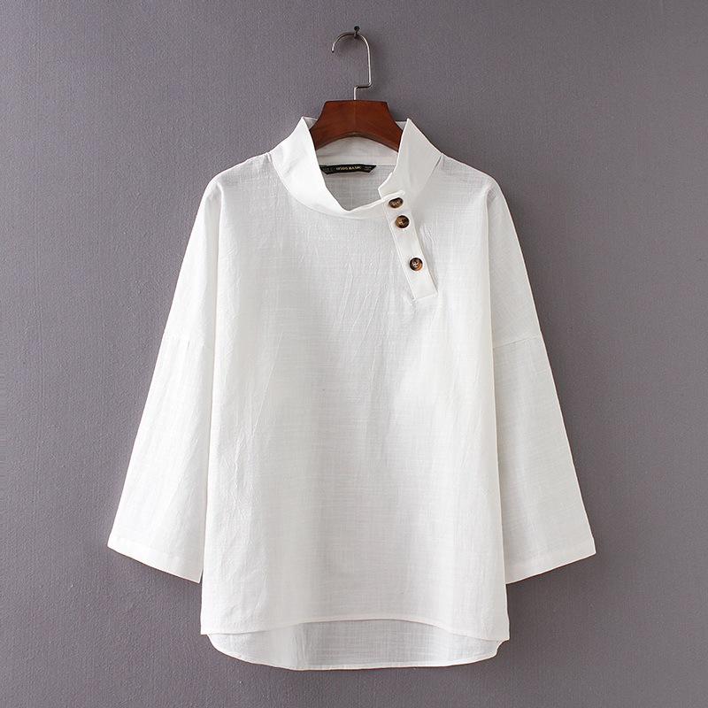 ASDS 2018 Stand collar cotton&linen wome oversize blouse bottom decoration asymmetric white ol shirt tops WCS46575