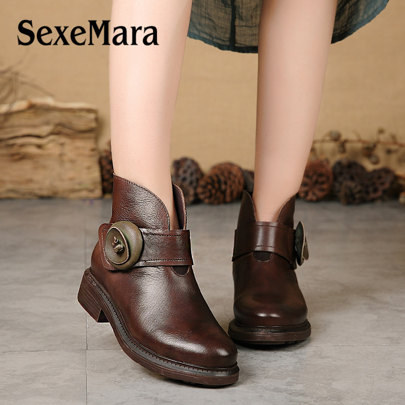 2018 Genuine Leather Women Boots Retro Solid Flower Ankle Boots Platforms Square Heel Vintage Ladies Round Toe Shoes Size 35 40 2017 real top cover heel open casual sapato feminino melissa genuine big size retro solid square heel shoes woman ladies womens