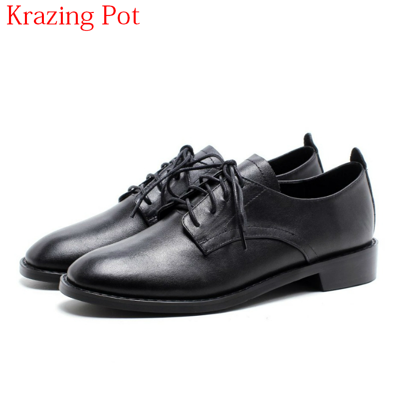 2018 New Arrival Genuine Leather Round Toe British Shcool Lace Up Thick Heels Women Pumps Vintage Style Casual Retro Shoes L08 xjrhxjr women s lace up high heels women pumps british style leather shoes thick heel round toe platform casual shoes for girls