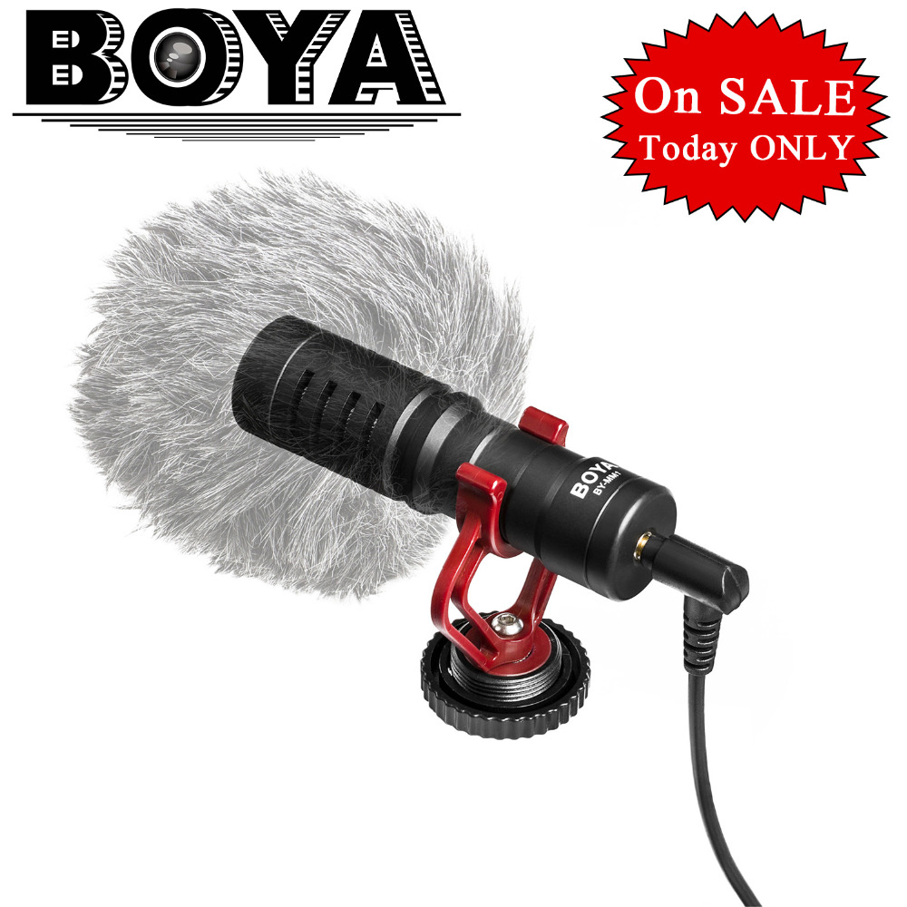 Newest BOYA Universal Cardiod Shotgun Microphone for iPhone 7 6 Xiaomi Smartphone Mac Tablet PC Computer DSLR Camera Camcorder