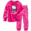 2016 nueva manga Larga de algodón pijamas sleepcoat pijamas del cabrito de la muchacha de los niños niñas de Dibujos Animados camisón rosa de la manera