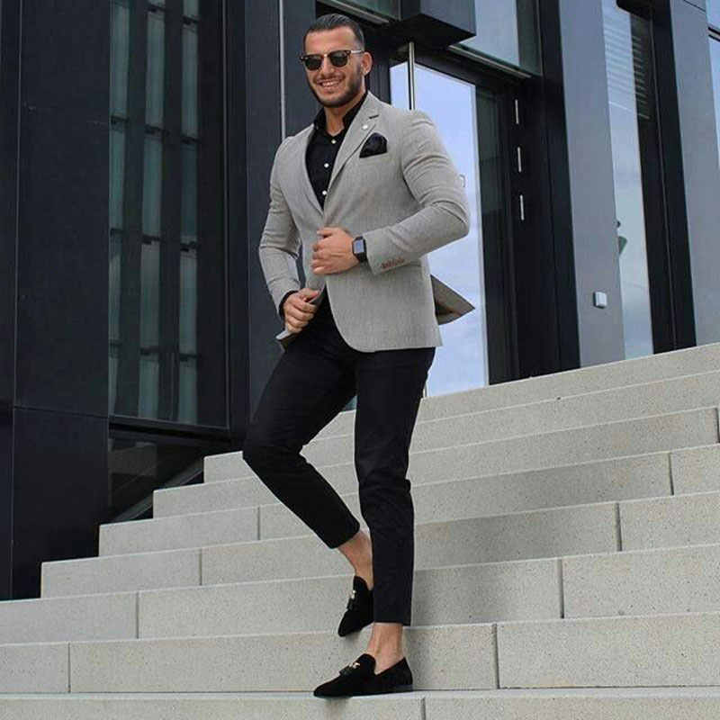 Casual Grey Men Suits Business Man Blazers Mannelijke Jas Bruidegom Slijtage Slim Fit Tuxedo Suits 2 Stuk Custom Made kostuum Homme