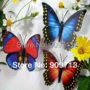 Wholesale!  7cm highly simulation magnet\needle artificial butterfly Wedding Cake Topper Favor! 100pcs color mix DHL Free ship