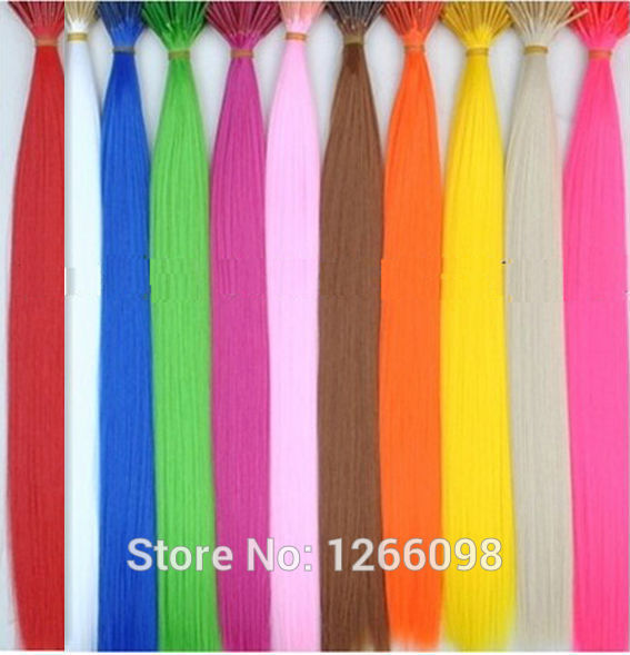 Good quality Solid Colors synthetic Hair accessories Extension 16inch hair jewelry 12 Colors Optional with free beads and hook