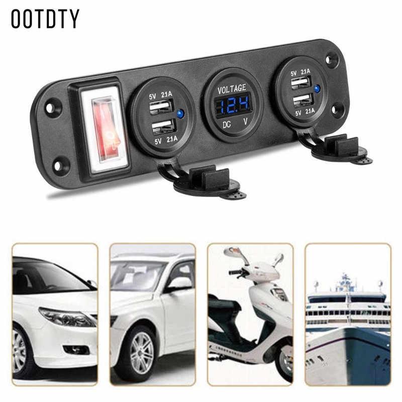 Nouveau 1 ensemble multifonction Auto voiture bateau camion moto DC 12V 24V 4 USB chargeur adaptateur numérique LED voltmètre avec panneau de commutation