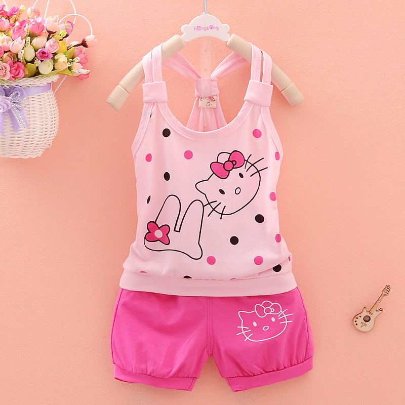 Baby Girl Summer Clothes 2018 Korean Cartoon Kitty Sleeveless Vest Tops + Shorts 2PCS Infant Clothing Kids Bebes Jogging Suits