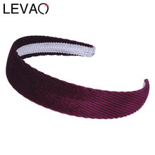 LEVAO New Fashion Women Lady Simple Gold Velvet Stripes Hairbands Girls Solid Colors Headbands Bezel Hair Accessories Headwear(China)