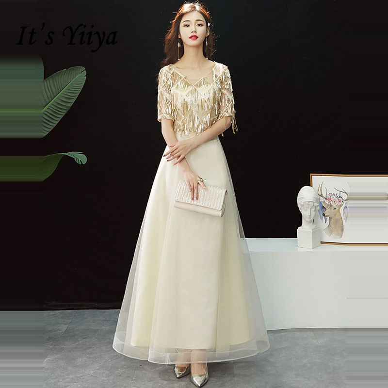 It's YiiYa Evening Dresses Shining Sequined Tassel Half-sleeves Wedding Formal Dress V-neck Short Sleeve A-line Party Gowns E341