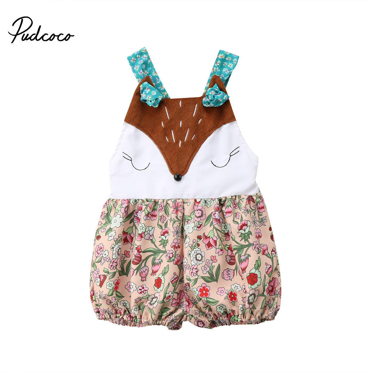 Cute Infant Baby Girl Fox Floral Strap Romper Jumpsuit 2018 Summer Baby Clothing 0-18M