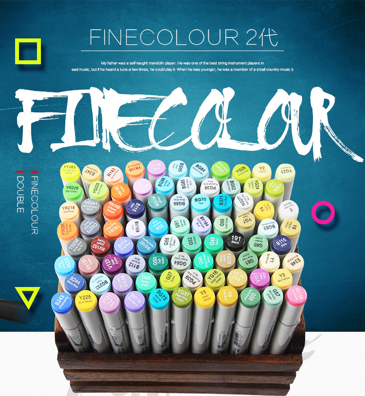 Finecolour 30/40/50/60/160 Set Colourful And Professional Sketch Permanent Art Marker Pen For Manga Markers For Drawing
