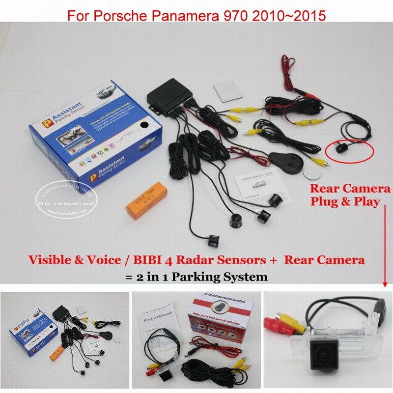 ФОТО For Porsche Panamera 970 2010~2015 - Car Parking Sensors + Rear View Back Up Camera = 2 in 1 Visual / BIBI Alarm Parking System