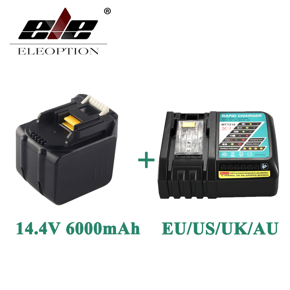 ELEOPTION 6000mAh 14.4V Li-Ion Battery For MAKITA BL1430 BL1415 194066-1 194065-3 194559-8 With 6.5A Rapid Charger eleoption 2pcs 18v 3000mah li ion power tools battery for hitachi drill bcl1815 bcl1830 ebm1830 327730