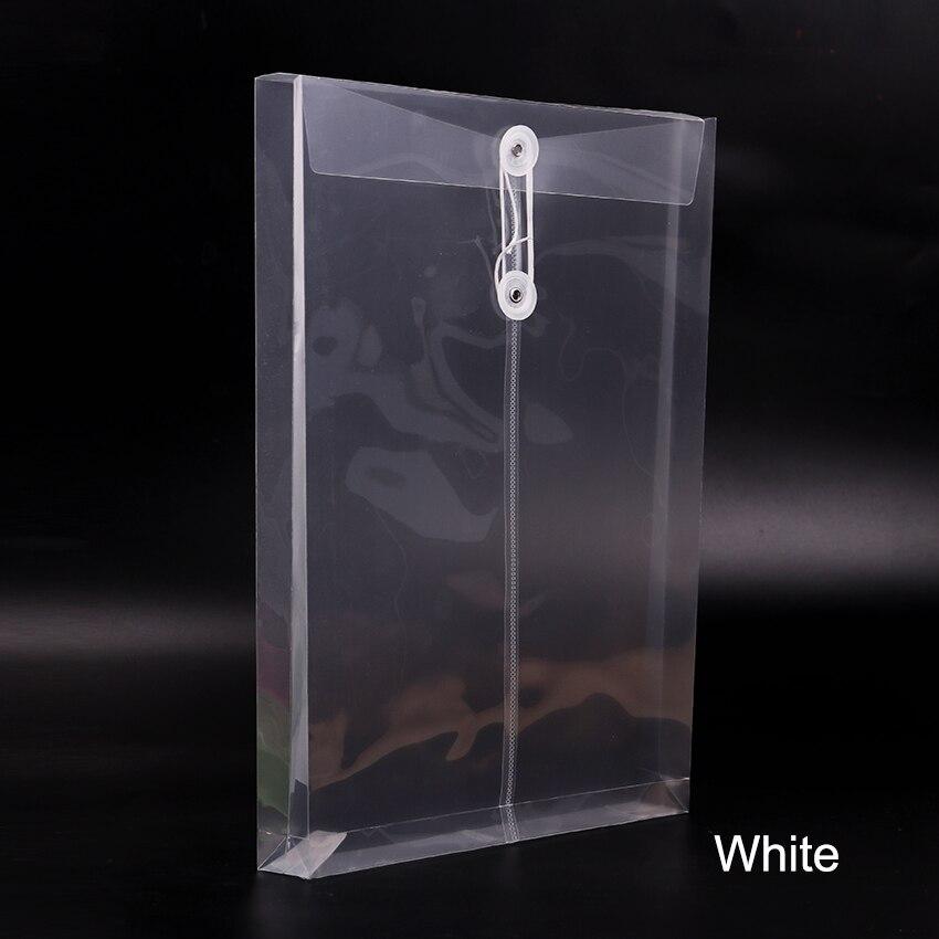 1 шт. модная офисная папка формата А4, сумка с застежкой на кнопках, прозрачная пластиковая папка для файлов, канцелярские принадлежности для офиса - Цвет: White