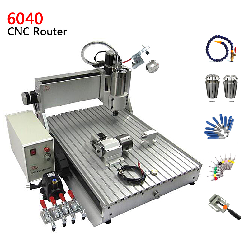 4 axes USB port cnc router 600*400mm engraving area with 1.5kw spindle motor, assembled machine for metal wood cutting