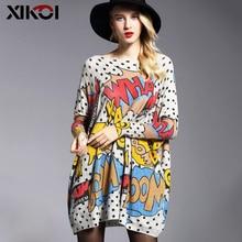 XIKOI 대형 패션 여성 긴 스웨터 셔츠 슬래시 목 Batwing 슬리브 인쇄 풀오버 의류 여성 느슨한 캐주얼 스웨터