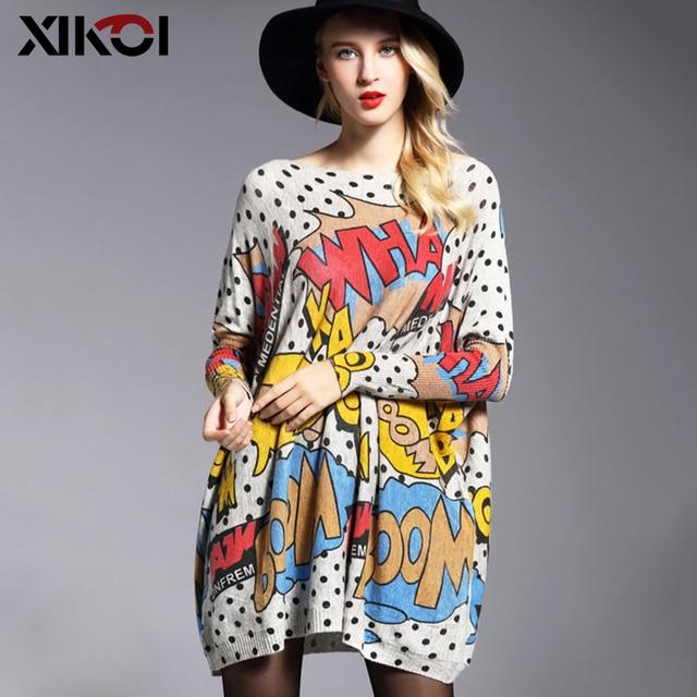 XIKOI Oversized Fashion Women Long Sweaters Shirt Slash Neck Batwing Sleeve Print Pullovers Clothing Female Loose Casual Sweater