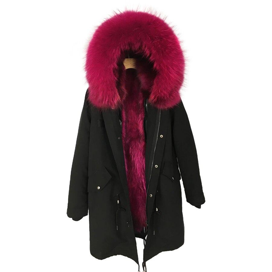 Raton laveur fourrure parkas Femme vraie fourrure à capuchon veste femmes manteaux d'hiver plus la taille noir naturel de fourrure parka