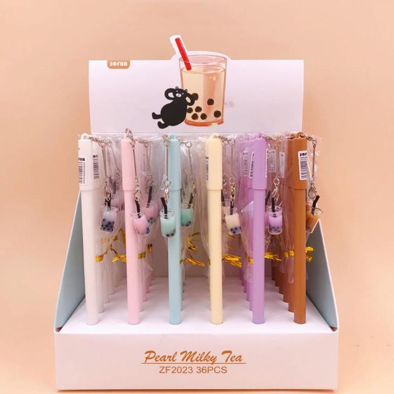 4 Pcs/set Kawaii Mini Bubble Tea Bottle Pendant Gel Pens Signature Pens School Office Stationery Gift