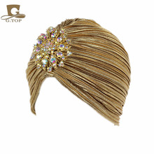 New Fashion Ladies Gold Silver Diamond Jewel Turban Hats For Women Chemo Bandana Hijab Pleated Indian Cap Turbante Hat