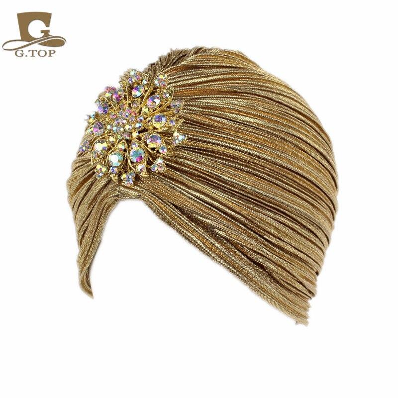 New Fashion Ladies Gold Silver Diamond Jewel Turban Hats For Women Chemo  Bandana Hijab Pleated Indian 8928371ffe04