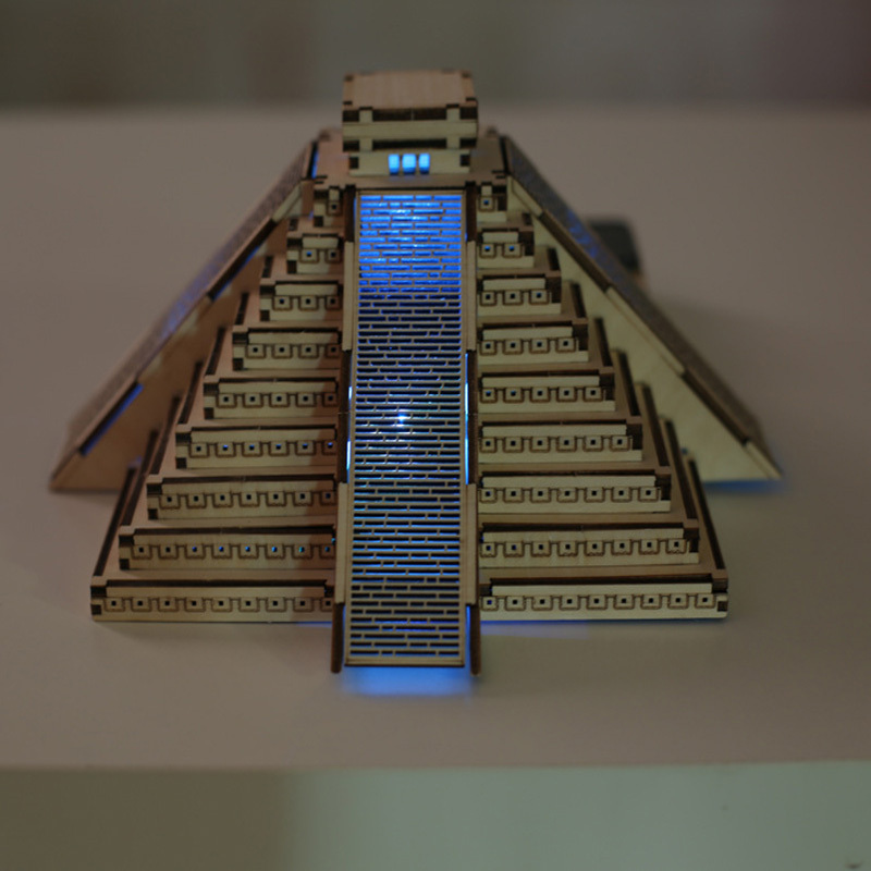 DIY 3D Wooden Mayan Pyramid Model Building Kits With Solar Cell Led Lighting  Great Gift To