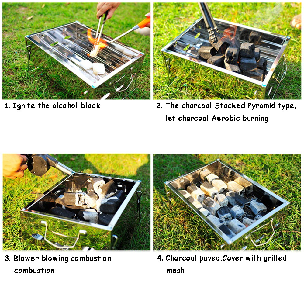 BETOHE 36*26*17cm Outdoor Stainless steel Hiking camping Charcoal Grill Picnic BBQ Grill for Barbecue & Sliver