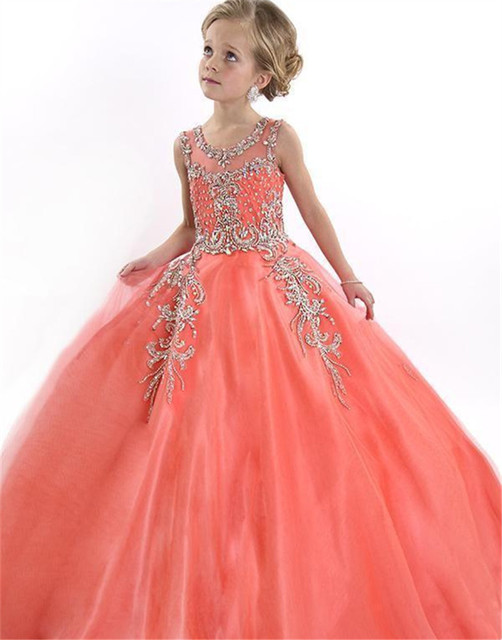 a50efca0b 2016 Peach Special Occasion Flower Girl Dresses Cute Tulle Formal ...