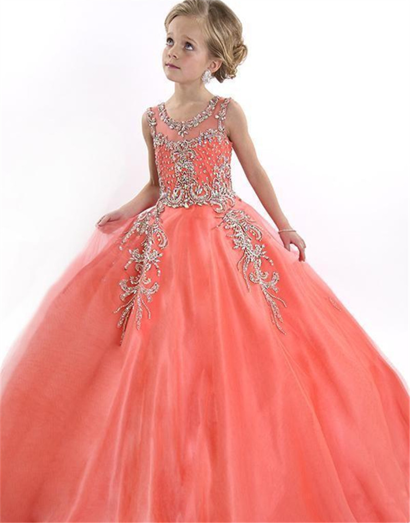 2019 Peach Special Occasion Flower Girl Dresses Cute Tulle Formal Long Beaded Pageant Gowns For Girls Floor Length