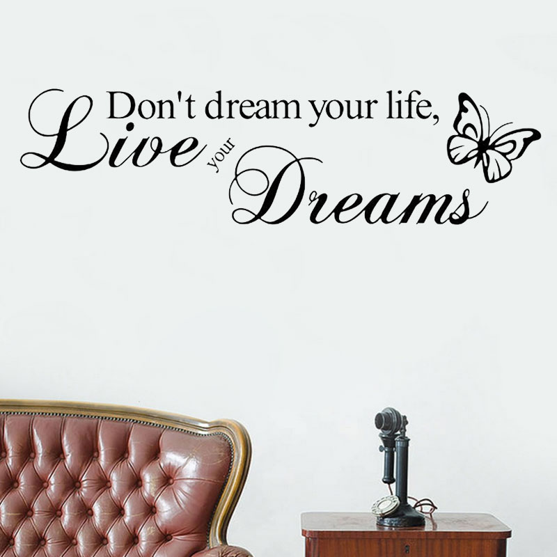 English Encouragement Quotes Wish It Dream It Do It Inspiring Quotes Wall  Stickers Home Decor Decal Mural Wall Stickers GF248 In Wall Stickers From  Home ...