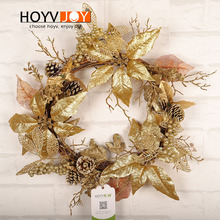 HOYVJOY Golden Christmas Flower Wreath Vitality Series Handmade 50cm Diameter Garland Festival Decoration