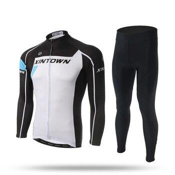 XINTOWN Ciclismo Bicicleta Jersey Set Primavera Outono Profissional Das Mulheres Dos Homens de Equitação Sportswear Calças de Manga Longa Roupas de Ciclismo